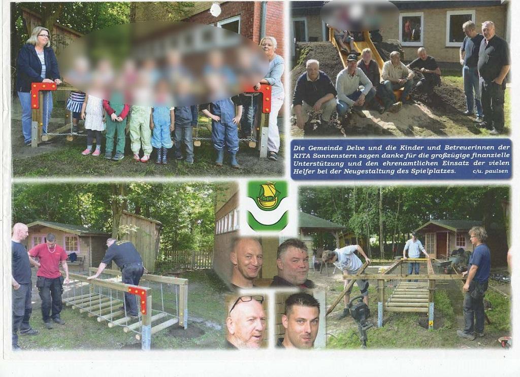 Gewerbeverein gestaltet Spielplatz der KITA Sonnenstern in Delve