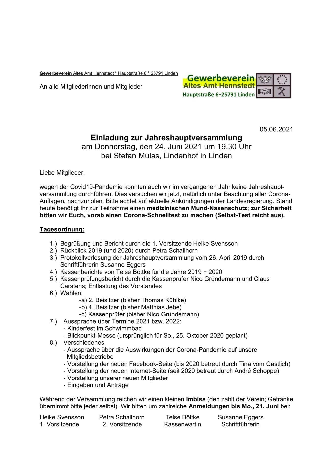 Einladung zur Jahreshauptversammlung am 24.06.